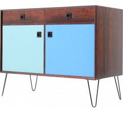 Small blue sideboard in rosewood with hairpin legs - 1960s