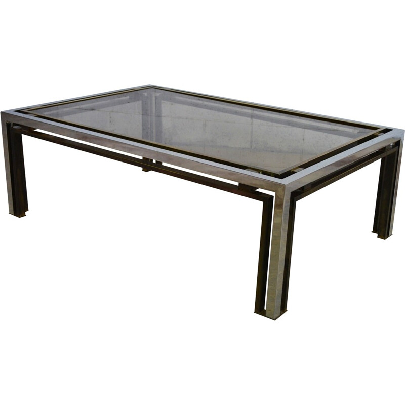 Coffee table in smoked glass and brass, Romeo REGA - 1970s