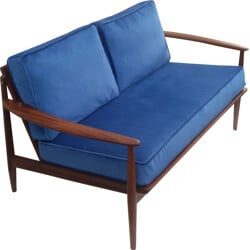 Scandinavian 2-seater sofa in solid teak and blue fabric, Grete JALK - 1960s