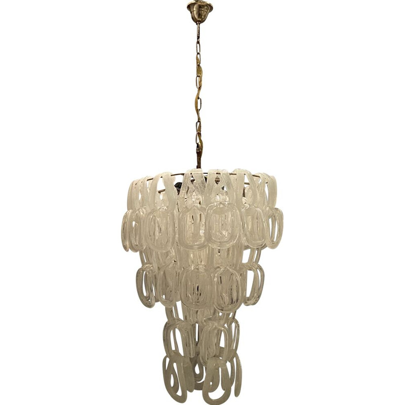 Large vintage Murano Giogali Chandelier by Angelo Mangiarotti