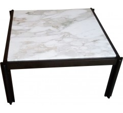 Italian coffee table in aluminum and white marble, Georges CIANCIMINO - 1970s