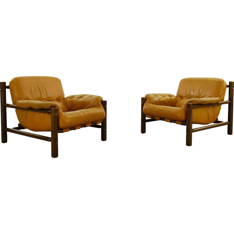 Pair of vintage Lounge Chairs in Cognac Leather, Brazilian 1970s