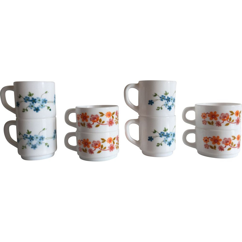 Set of 8 vintage Coffee Cups Arcopaln, France 1970s