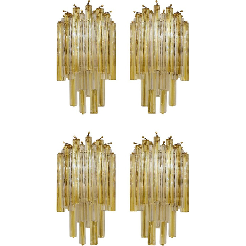 Set of 4 Vintage Murano Wall Sconces by Paolo Venini 1970s