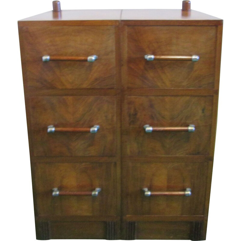 Vintage walnut cabinet with drawers