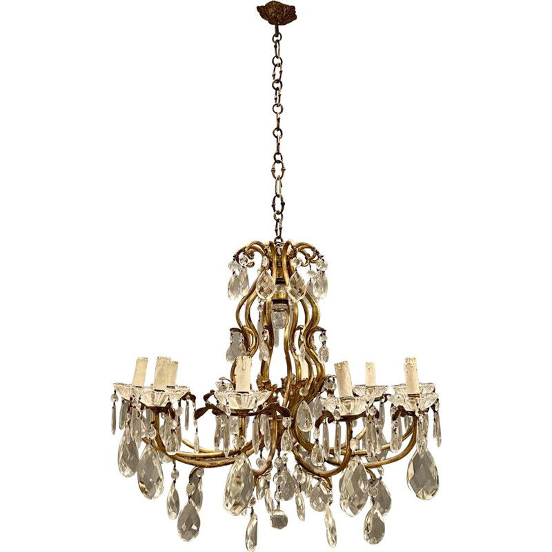 Large vintage Crystal Bronze Chandelier 1950s