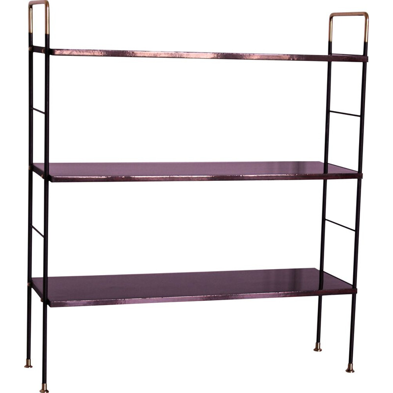 Vintage Etager bookcase in rosewood brass and iron, Italian 1950s