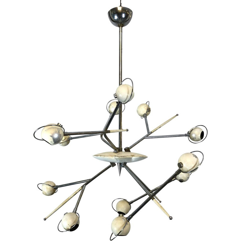 Vintage chandelier Oscar Torlasco for Lumi Cosmo 1960s