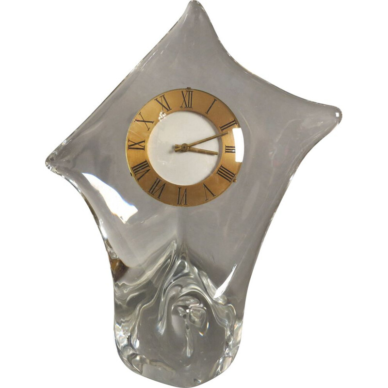 Vintage Glass Table Clock from Cristallerie Schneide 1960