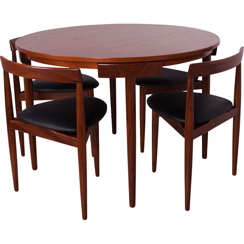 Mid-Century Teak Dining Table & 4 Chairs by Hans Olsen for Frem Røjle, 1950s