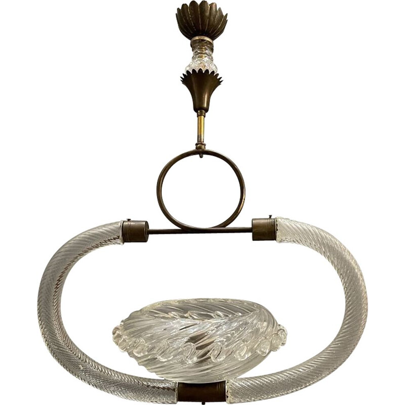 Vintage Murano Glass Ceiling Lamp by Ercole Barovier, 1940s