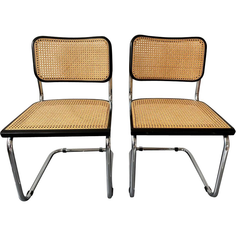 Pair of vintage chairs seats without armrests Cesca B32 Marcel Breuer 1970