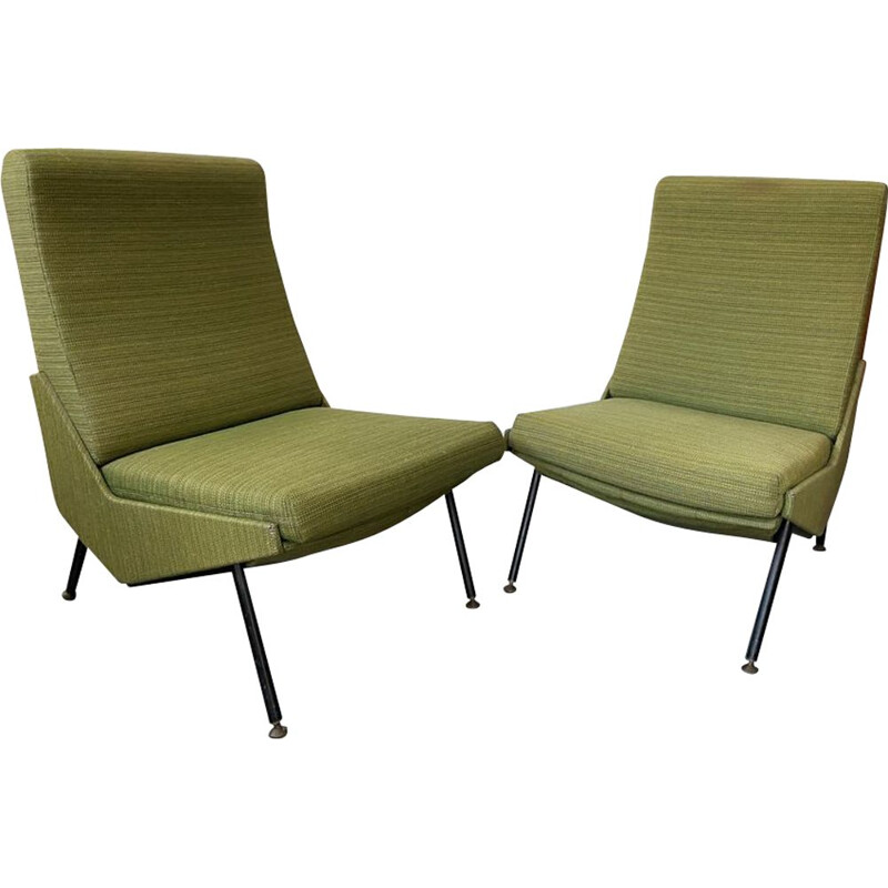 Pair of vintage armchairs heater Airborne  Pierre Guariche 1960