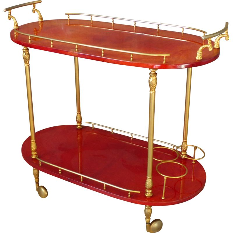Vintage red goat leather trolley by Aldo Tura Italy 1959