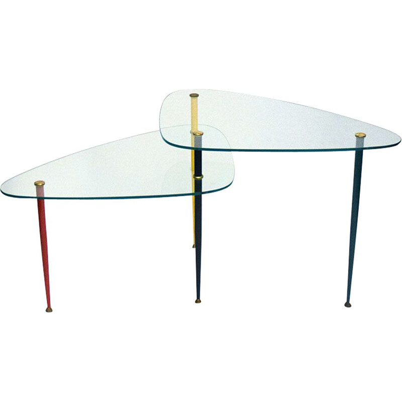 Vintage Arlecchino coffee table in metal and crystal by Edoardo Poli for Vitrex 1960