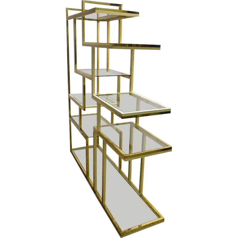 Vintage brass bookcase with glass shelves by Romeo Rega 1970