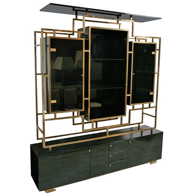 Large black storage in brass and glass, Guy LEFEVRE - 1970s