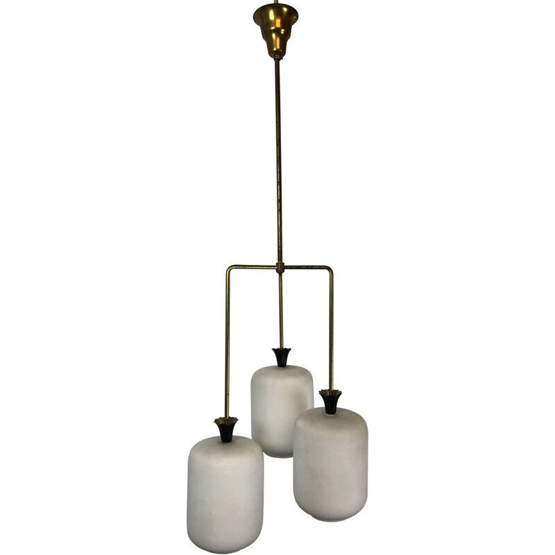 Vintage brass and opaline glass chandelier Arredoluce, Italy 1950