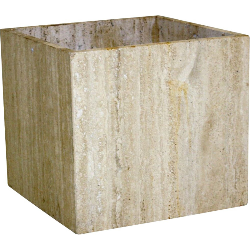 Vintage travertine pot, Italy 1970