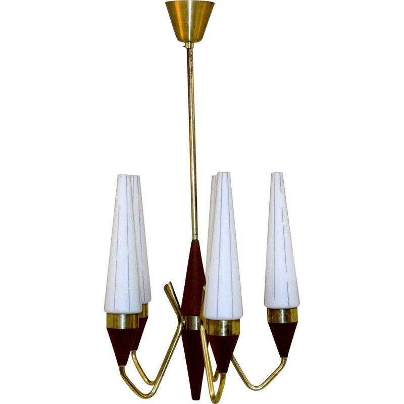 Vintage teak and metal chandelier, Sweden 1950