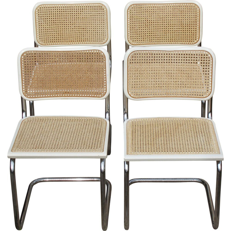 Set of 4 vintage white chairs Cesca B32 by Breuer, Italy 1998