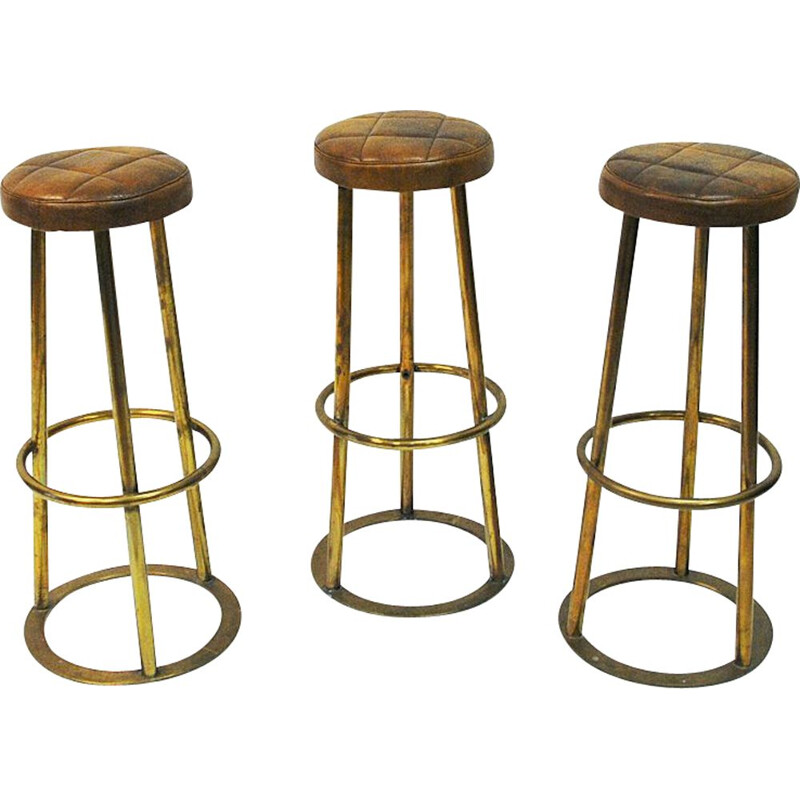 Set of 3 vintage brass and leather bar stools, Scandinavian 1950s