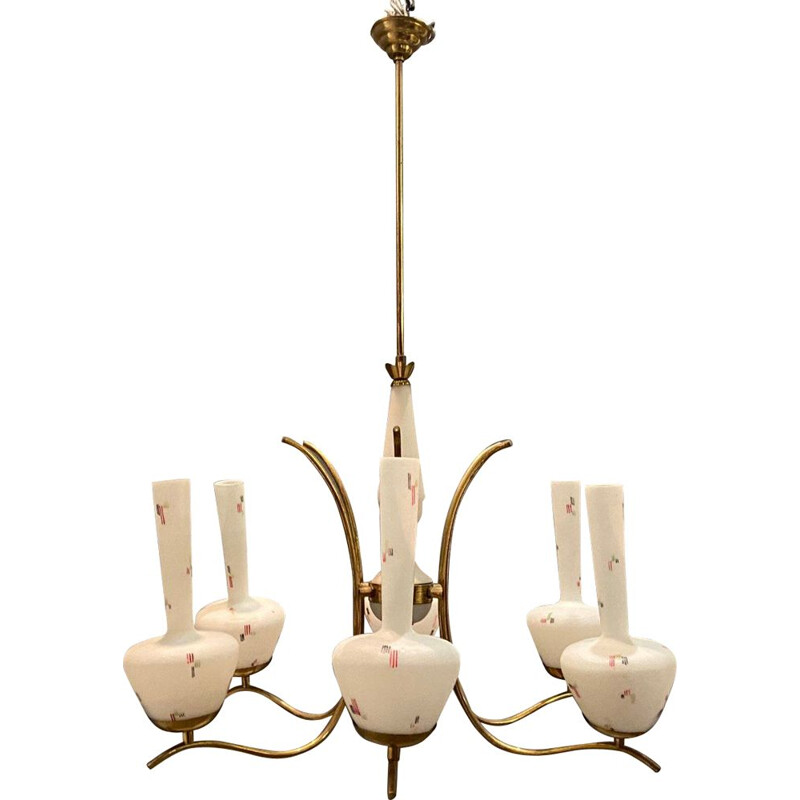 Vintage Opaline Glass Chandelier from Stilnovo 1950s