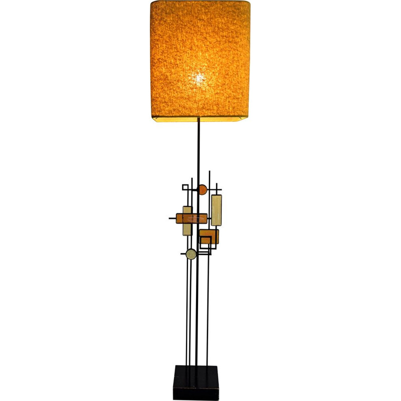 Mid Century Modern Wrought Iron and Glass Floor Lamp by Holm Sorensen, Denmark 1960s
