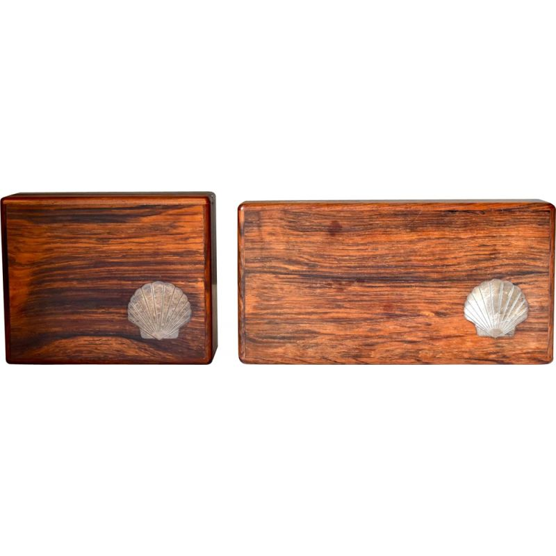 Pair of vintage Modern Wood Boxes with Sterling Inlays, Danish 1960s