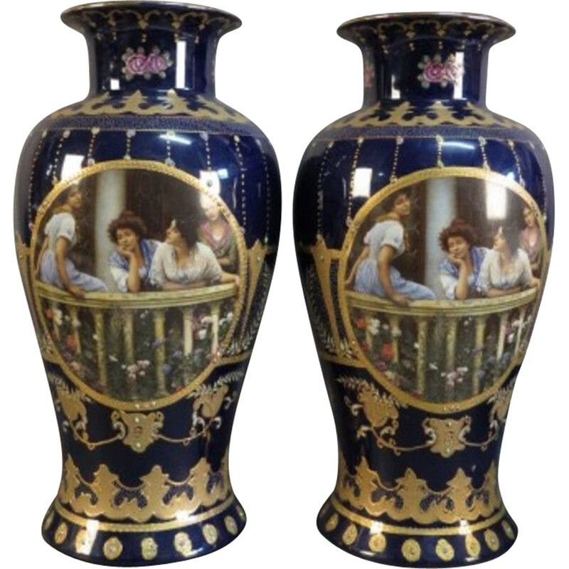 Pair of Vintage Art Nouveau Vases Royal Limoges 1900s