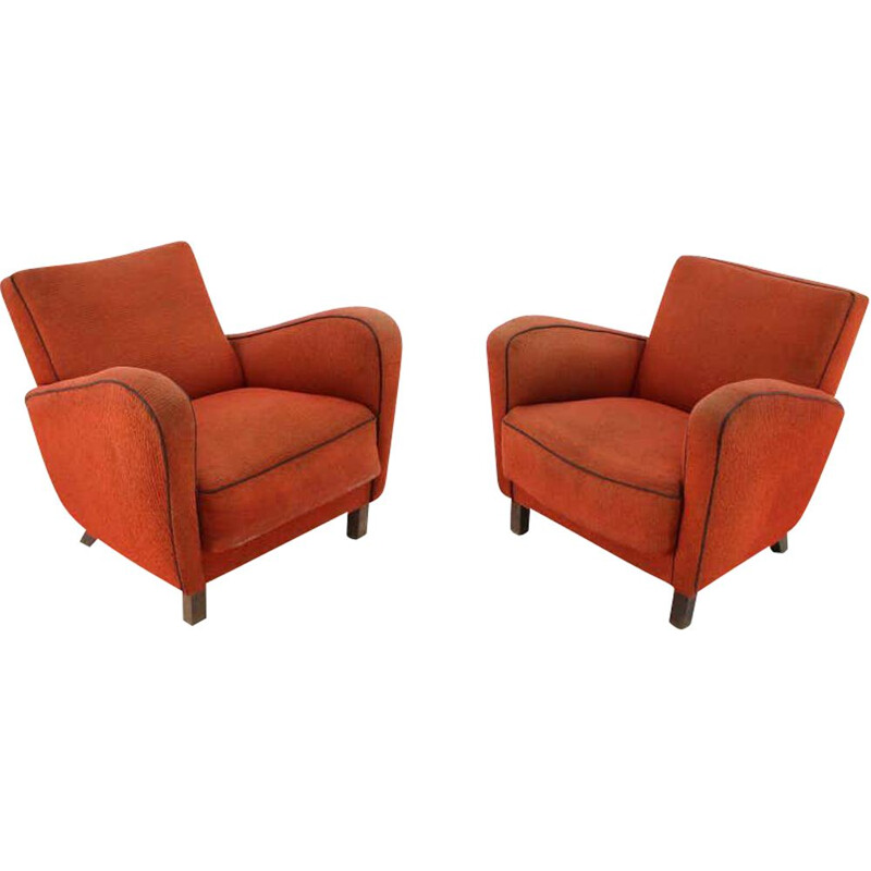 Pair of vintage Art Deco Armchairs H-283 by Jindřich Halabala 1930s