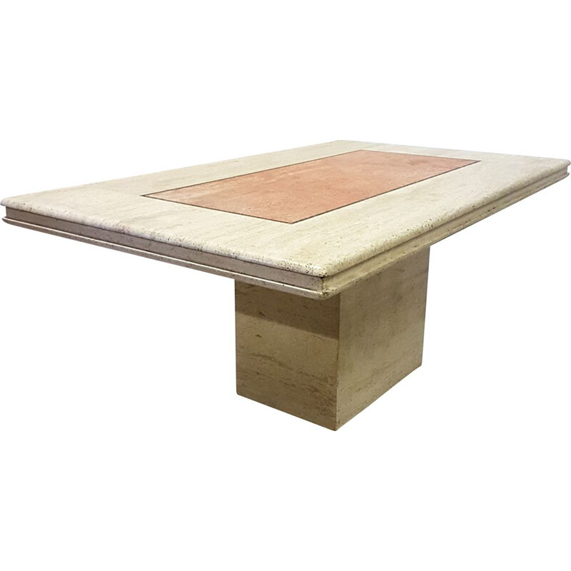 Vintage Hollywood regency travertine dining table 1970s