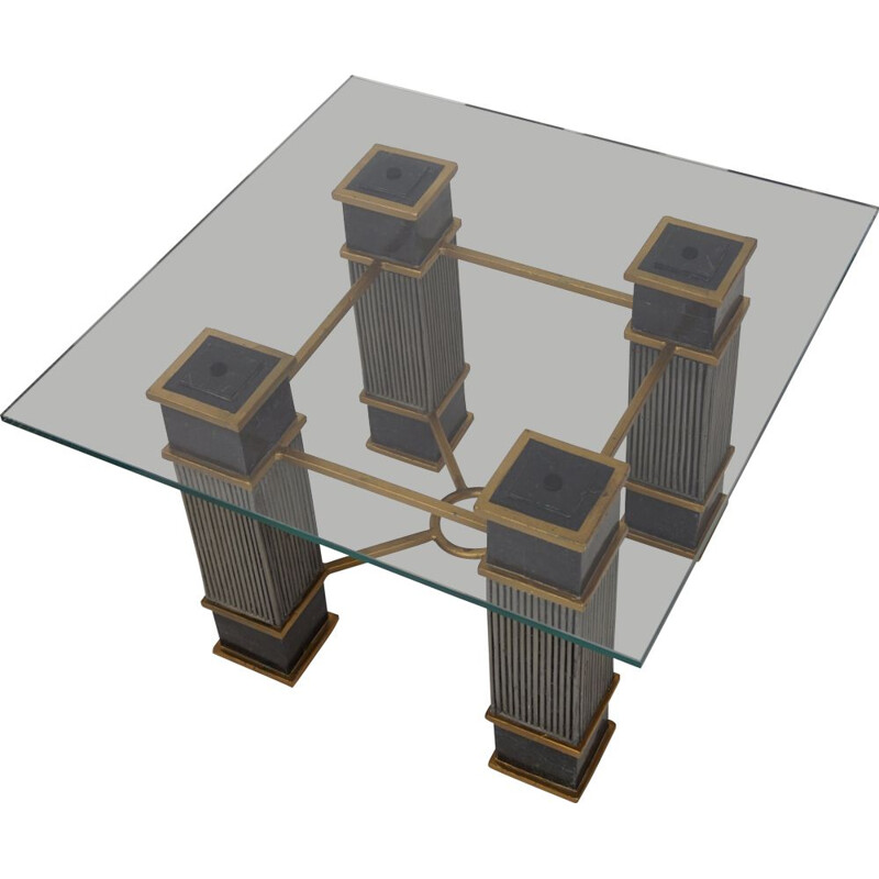 Vintage coffee table in marble and glass, Italian 1970s