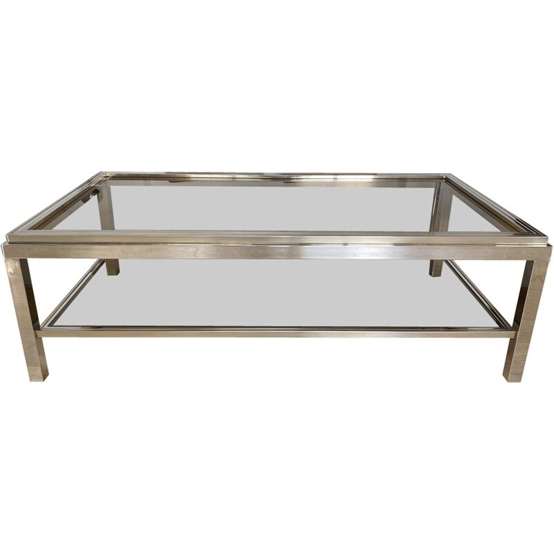 Large vintage coffee table with brass 1970s