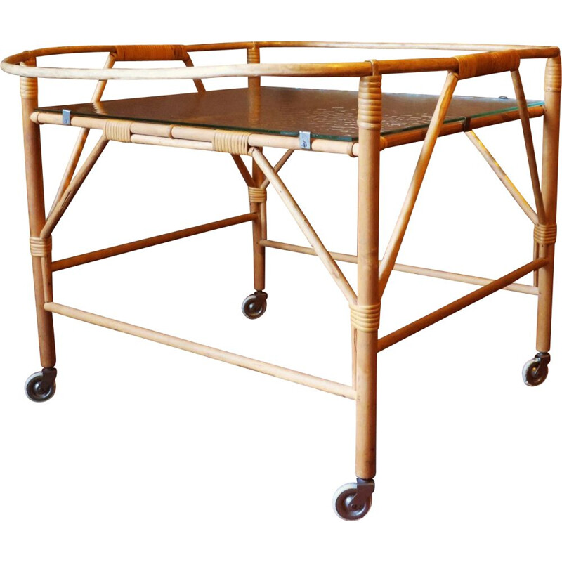 Vintage serving trolley in bamboo and frosted glass 1960