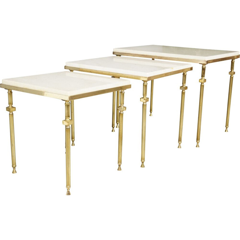 Vintage brass and marble nesting tables 1970