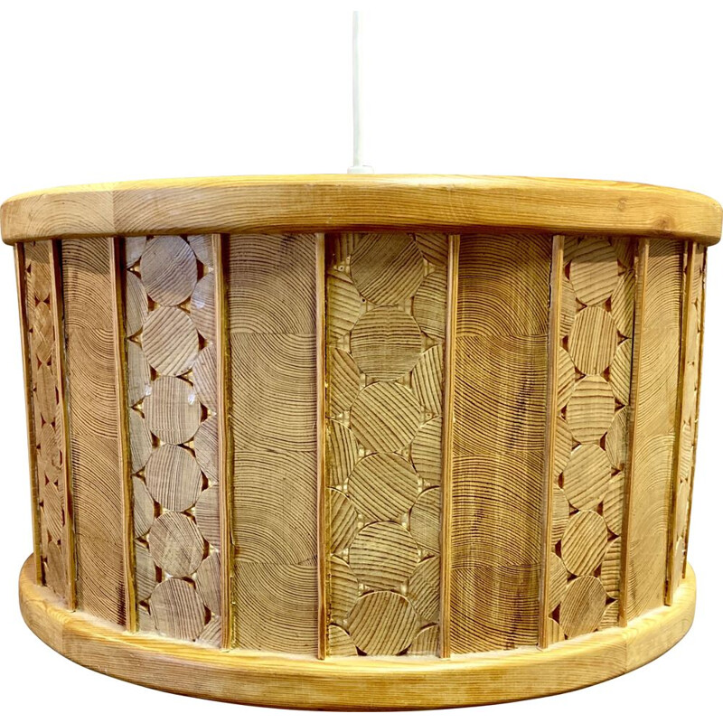 Large vintage pendant lamp in solid wood, Scandinavian 1950s