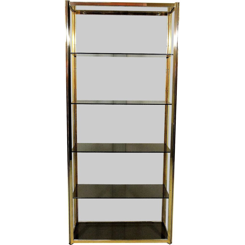 Large vintage display in brass and smoked glass 1970