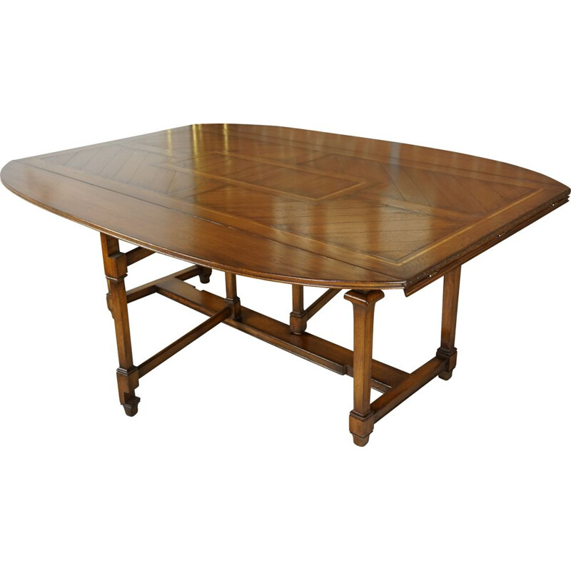 Vintage modular table in marquetry