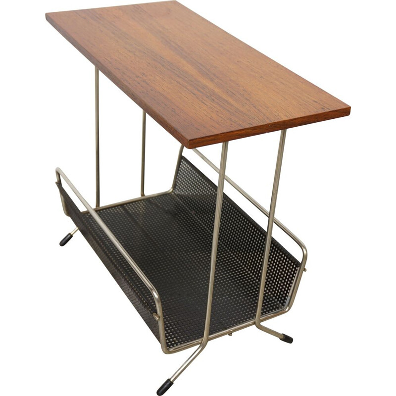 Vintage side table with integrated magazine rack by Tjerk Reijenga for Pilastro 1950