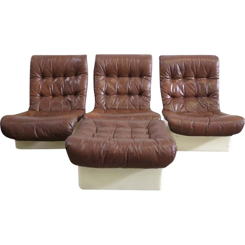 Set of 3 vintage lounge armchairs with stool from Airborne, France 1970