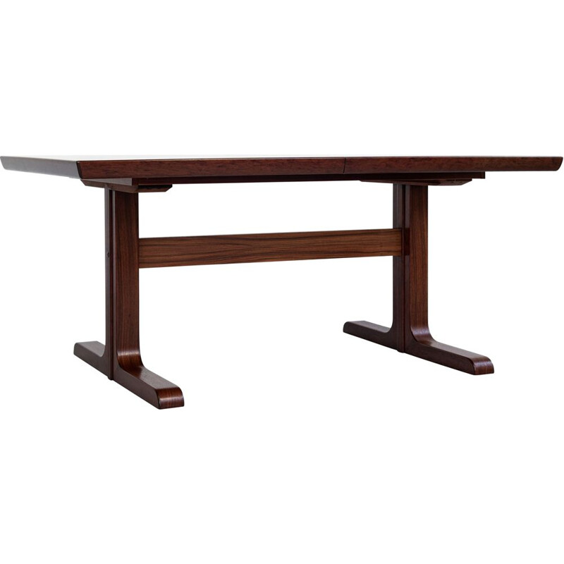 Midcentury rectangular dining table in rosewood with 2 extensions, Denmark 1960s