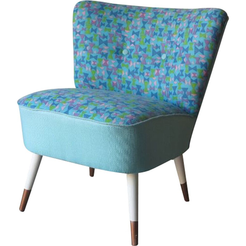 Vintage Cocktail Chair Blue 1950s