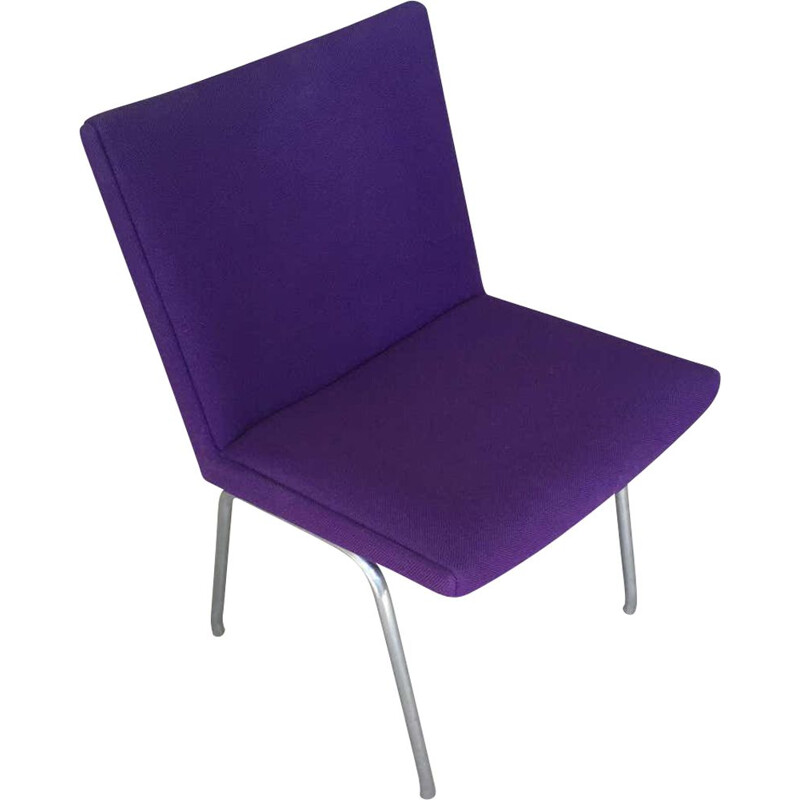 Vintage Hans J. Wegner Airport Chair in Purple Fabric, Danish 1960s