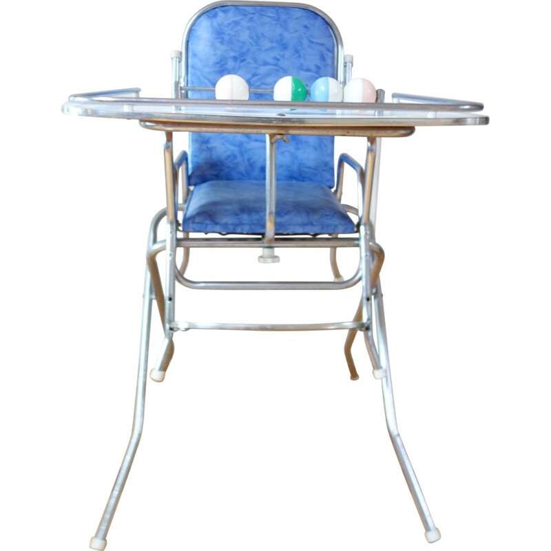 Vintage child high chair chrome and blue 1960