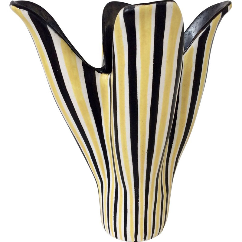 Vintage Corolla enamelled ceramic vase, France 1950