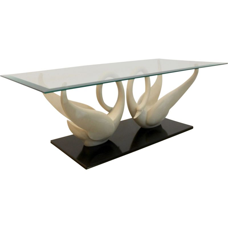 Vintage Swan coffee table by Maison Jansen 1960