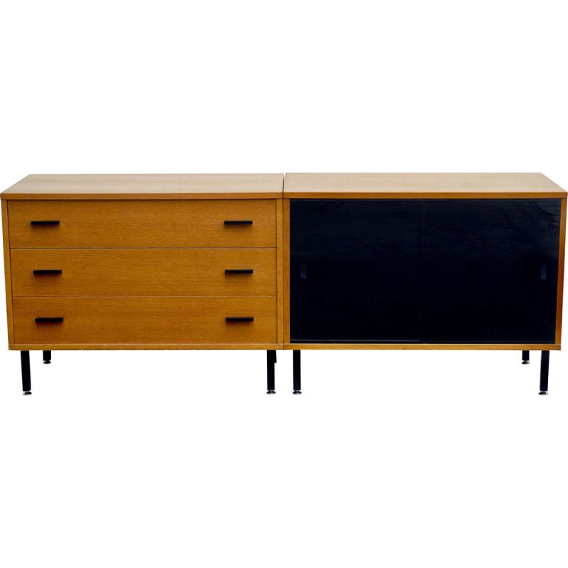 Vintage oak double module sideboard 1950