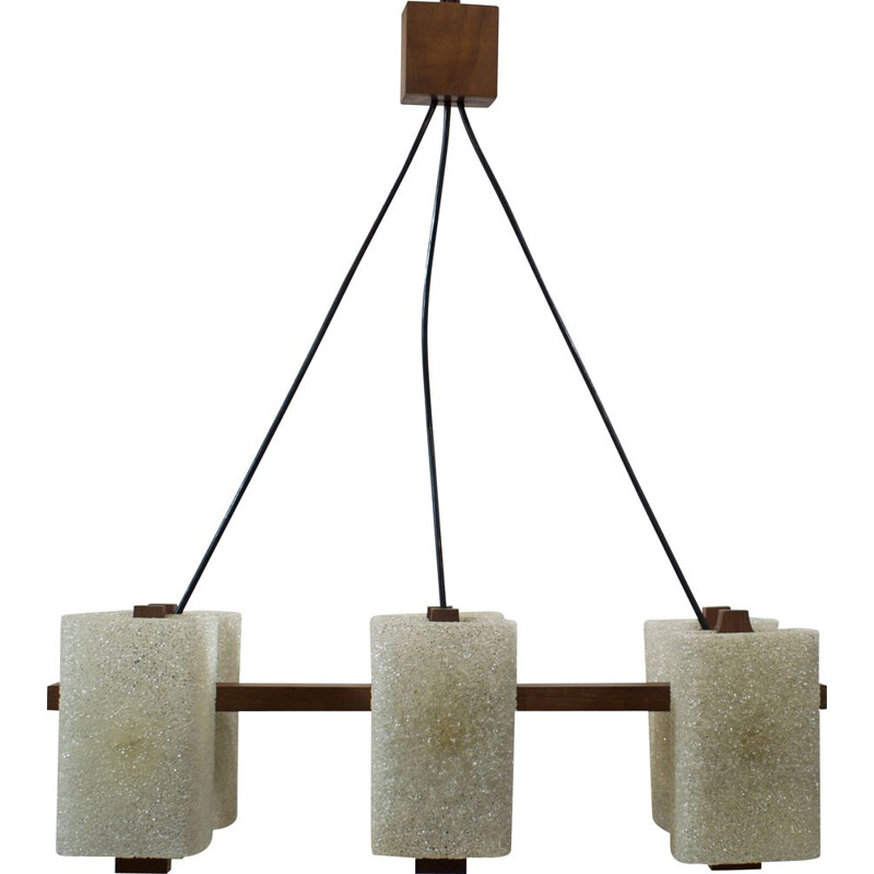 Vintage teak and perspex granite chandelier, Scandinavian 1960