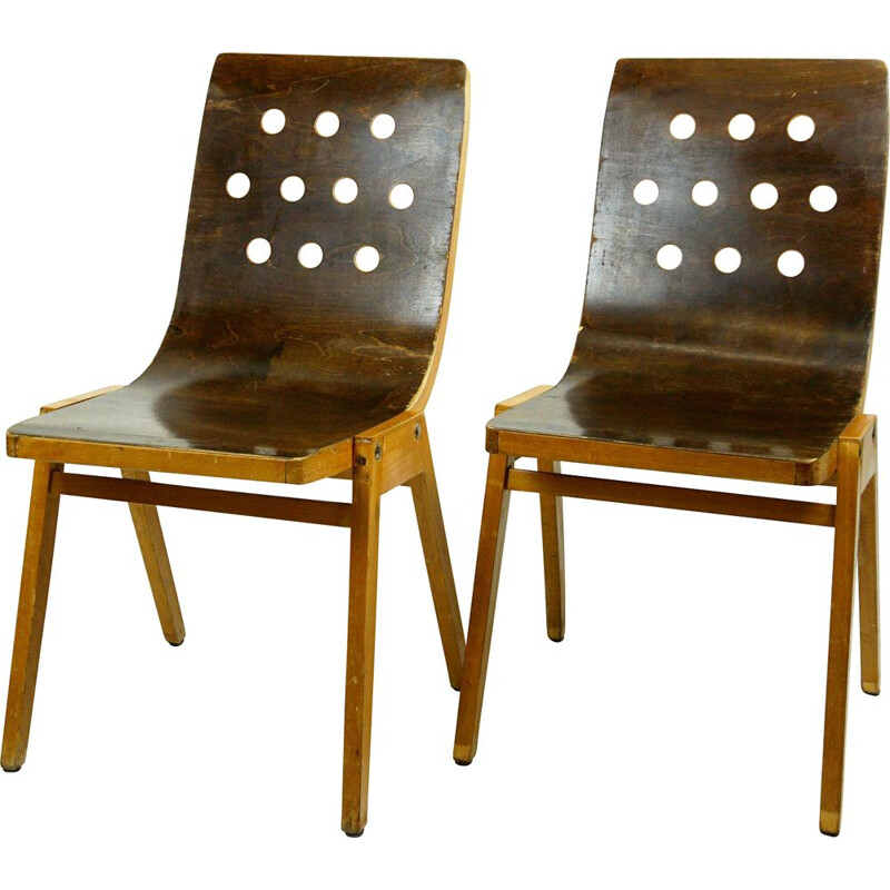 Pair of vintage Stacking Chairs by Roland Rainer 1951s